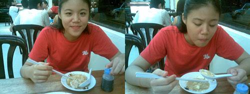 Amy eating Fei Loh hokkien mee