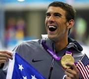 Michael Phelps with his London 2012 Gold Medal