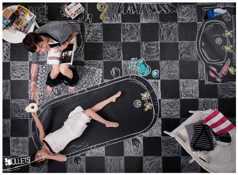 Most Creative Chalk Art Pre-Wedding Photo Shoot by Redd Bullets – Joey Khor & Regine Seet