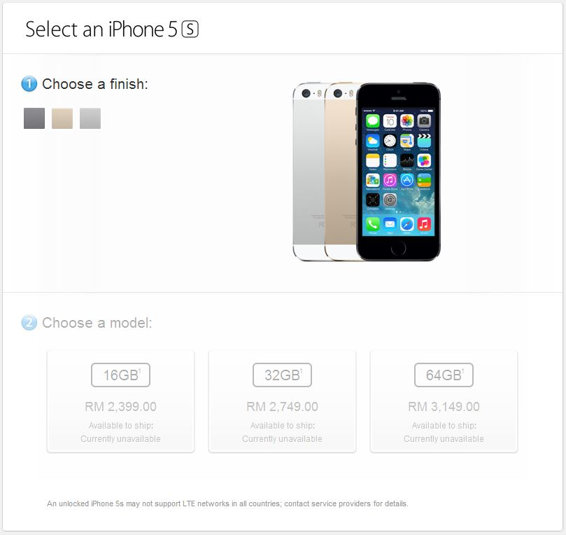 8b5f1f5458cfa0 Apple Store Malaysia List Price of iPhone 5S from RM2,399, and ...