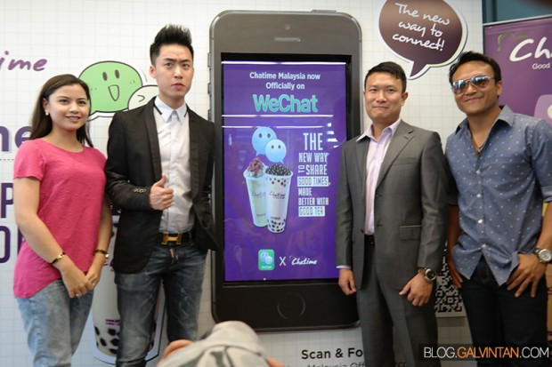 Lisa Surihani (WeChat Ambassador), Bryan Loo (MD of Chatime Malaysia), Louis Song (Country Manager - Tencent) & Shaheizy Sam (WeChat Ambassador)