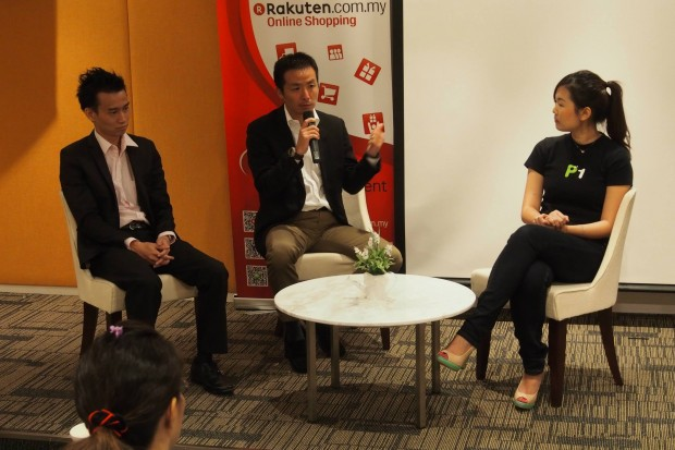 Mr. Johangz Ooi of HeppiFace, Mr. Masaya Ueno of Rakuten Malaysia and Ms. Lim Hui Ling of P1 answer questions from the floor.